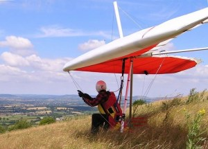 Photo of a hang glider waiting to launch