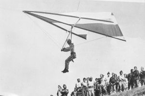 Hang glider launching in 1975