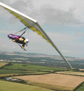 Air-to-air photo of a hang glider
