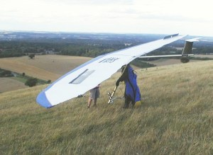 Photo of a rigid hang glider at Combe Gibbet in 2006