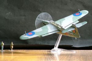 Photo of a 1/48th scale Fairy Barracuda torpedo and dive bomber