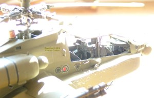 Photo of detail of a scale model AH-64D