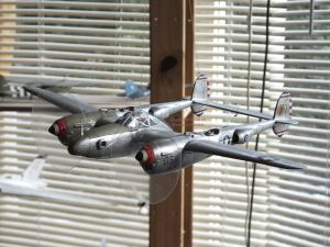 Scale model plastic kit Lockheed Lightning completed