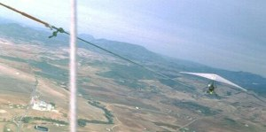 In-flight photo taken from a hang glider on aerotow
