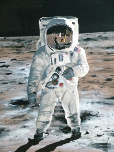 Photo of a painting of Buzz Aldrin on the moon