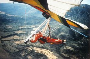 Hang glider in the Ager valley, 1993