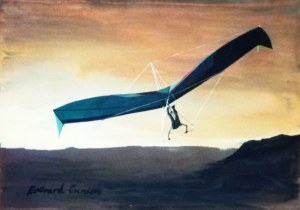 Painting of an early hang glider