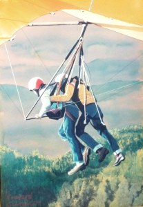 Painting of a dual hang glider launch