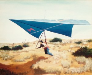 Painting of an early hang glider flying low