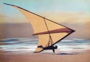 Painting of a 1975 hang glider
