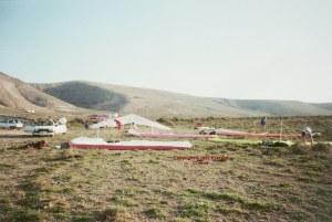 Photo of hang glider landing zone at Famara, Lanzarote