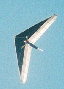 Photo of a hang glider in flight