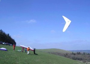 Photo of a hang glider maneuvering close to the ground