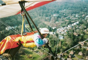 Photo of a hang glider over Malvern, England