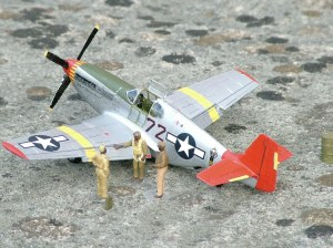 Photo of a 1/48th scale P-51 'red tail'