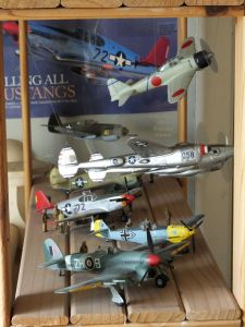 Several World War 2 fighter aircraft in 1/48 scale