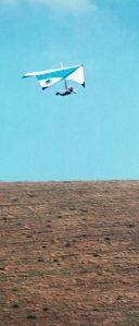 Photo of a standard Rogallo hang glider in flight