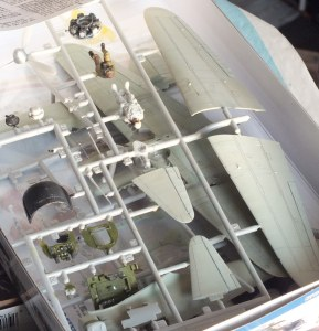 Tamiya 1/48 Mitsubishi Zero under construction