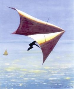 Painting of a Wills Wing Swallowtail hang glider in flight