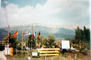 Camp site at Ager, Catalonia, Spain, September 1989