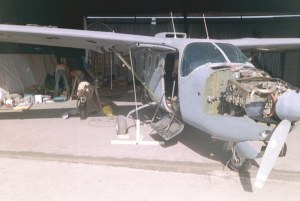 Photo of Cessna O-2 undergoing restoration in 2004