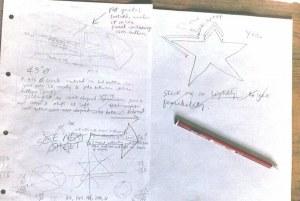 Photo of drawings for hang glider sail artwork