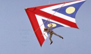 Hang gliding in 'Sky Riders,' 1976