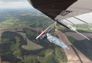Wing-mounted camera view from airborne hang glider