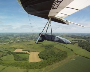 Photo from wing-mounted camera on a hang glider