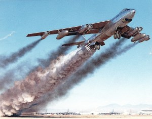 The B-47 sometimes used a pack of small rocket engines attached to the fuselage to assist its take-off.
