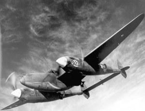 Lockheed P-38J Lightning in flight