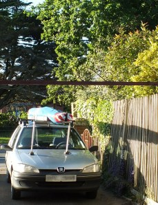 Photo of a car with a hang glider on its roof bars