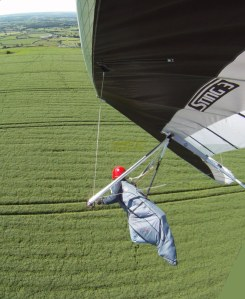 In flight-hang glider photo