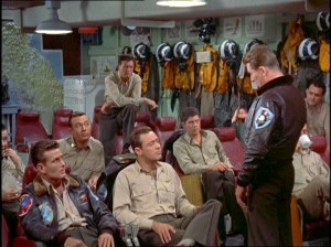 CAG Lee, played by Charles McGraw, presents pre-strike briefing