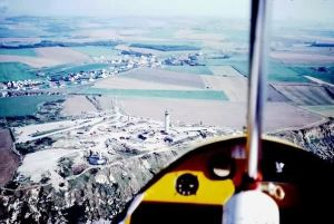 Nose-gunner's view of the coast of France. Copyright © 2001 Len Gabriels.