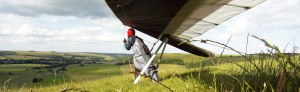 Hang glider on the ground