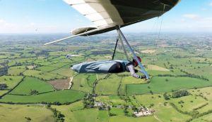 Hang gliders in flight