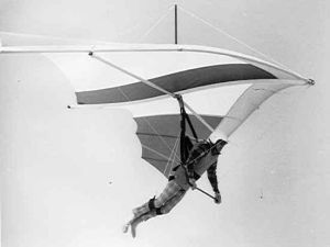 Francis Rogallo flying a Seahawk hang glider in the late 1970s