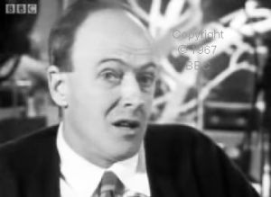 Screenwriter Roald Dahl interviewed by Alan Whicker on the set of You Only Live Twice