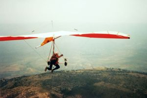 Hang glider launching in Spain in 1989