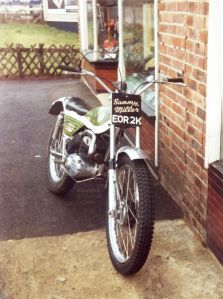 Green Bultaco at Sammy Miller's shop, Highcliffe, about 1974
