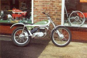 Green Bultaco at Sammy Miller's shop, Highcliffe, about 1973