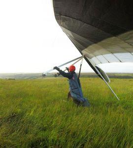 Hang glider flaring