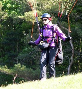 Paraglider pilot readying to launch at Monk's Down
