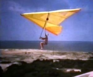 1970s hang glider in flight