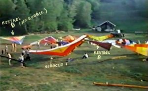 Annotated photo of 1970s hang gliders