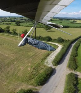 Hang glider on final approach