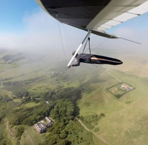 British champion Grant C flying a Wills Wing 145 U-2 at Ringstead in Dorset, England