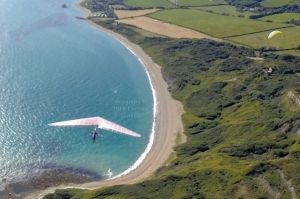 Hang glider in flight from above