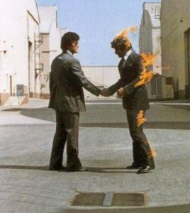 Pink Floyd dust cover photo on Wish You Were Here